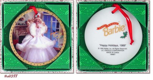 ENESCO 1989 HAPPY HOLIDAYS BARBIE PORCELAIN ORNAMENT