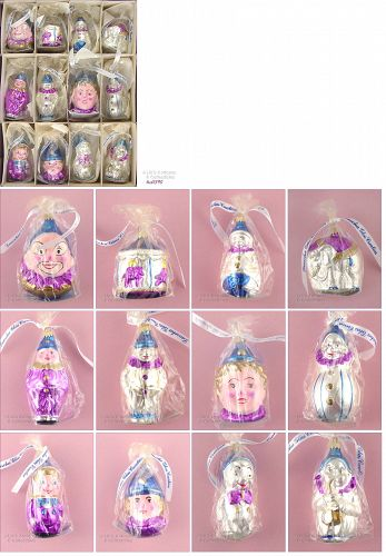 12 VINTAGE LAUSCHA GERMANY GLASS CIRCUS THEME ORNAMENTS MINT IN BOX