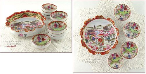 GEISHA GIRL PORCELAIN 11 PIECE NUT BOWL SET