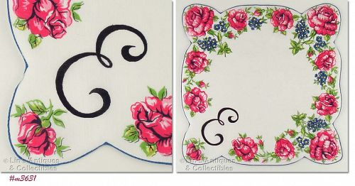 MONOGRAM �E� WITH FLORAL PRINT HANDKERCHIEF