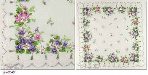 PINK  PURPLE AND WHITE VIOLETS VINTAGE HANKY HANDKERCHIEF