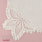 WHITE CROCHET BUTTERFLY AND �R� MONOGRAM HANKY