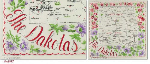 STATE SOUVENIR HANDKERCHIEF, THE DAKOTAS