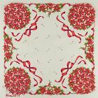 BOUQUETS OF POINSETTIAS VINTAGE CHRISTMAS HANDKERCHIEF