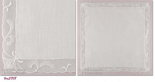 VINTAGE WHITE WEDDING HANDKERCHIEF WITH PASTEL GREEN EDGING