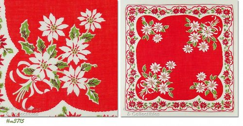 WHITE AND RED POINSETTIAS VINTAGE CHRISTMAS HANDKERCHIEF
