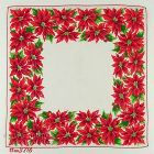 VINTAGE CHRISTMAS HANDKERCHIEF WITH LOTS OF RED POINSETTIAS