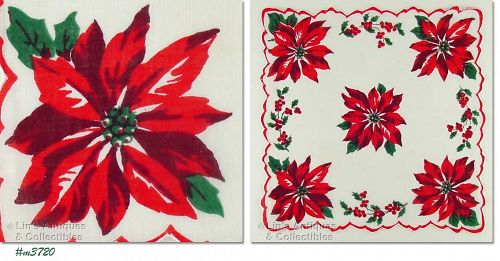 DARK RED POINSETTIAS CHRISTMAS HANDKERCHIEF