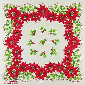 POINSETTIAS AND HOLLY CHRISTMAS HANDKERCHIEF