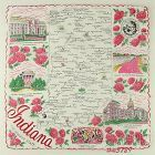 STATE SOUVENIR HANKY, INDIANA, THE HOOSIER STATE