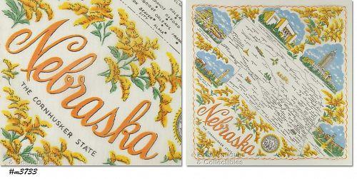 STATE SOUVENIR HANKY, NEBRASKA, THE CORNHUSKER STATE