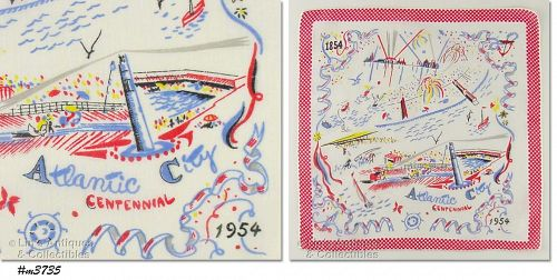 SOUVENIR HANKY, ATLANTIC CITY CENTENNIAL 1854-1954