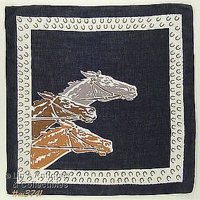 THREE RACING HORSES HANDKERCHIEF