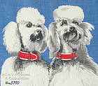 TWO WHITE POODLES HANDKERCHIEF