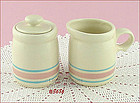 McCOY POTTERY � PINK AND BLUE CREAMER AND SUGAR