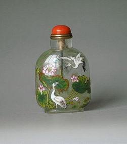 Early qing dynasty qianlong glass snuff bottle