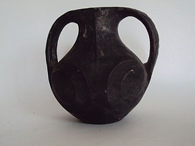 Another Han dynasty black jar with repair ear