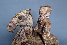 Very rare han horse with rider with original painting