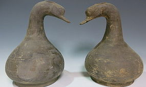 Lovely pair of duck wine container from warring-states
