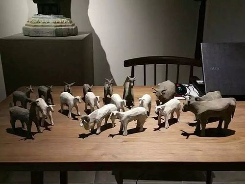 Wonderful set of han dynasty hand carved sheep family