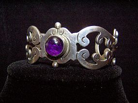 Amethyst  Cabachon Taxco  Silver  Vintage  Bracelet