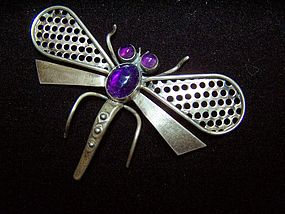 Vintage Mexican Silver Dragonfly Brooch by Parra