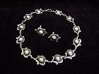 Los Castillo Vintage Mexican Silver Old Necklace & Ears