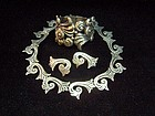 Carved 980 Taxco Vintage Mexican Silver Necklace Ears