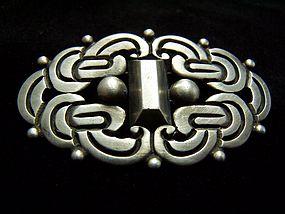 Rafael Dominguez Vintage Mexican Silver Brooch Pin