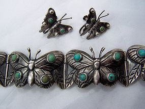Garcia Vintage Mexican Silver Butterfly Bracelet Group