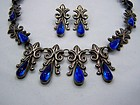 Royal Vintage Mexican Silver Necklace Earring Set