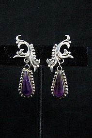 Vintage Mexican Silver Amethyst Teardrop Earrings