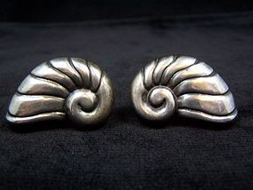 William Spratling Vintage Mexican Silver Shell Earrings