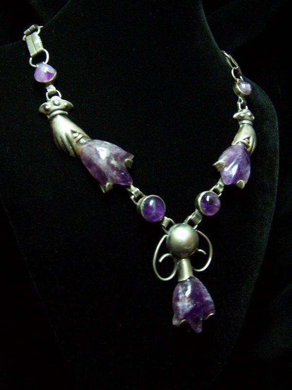 Spratling Design Vintage Mexican Silver Tulip Necklace