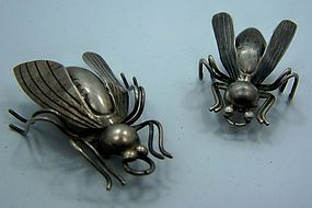 Old Pair Vintage Mexican Silver Flies
