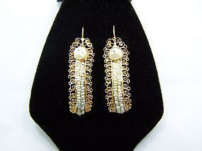 Mexican Gold And Pearl Huge Gusanos Filigree Earrings