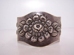 Mexico City Repousse Roses Vintage Mexican Cuff