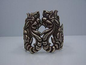 Vintage Mexican Silver  Dragon Cuff Bracelet