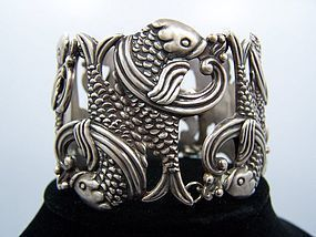 Los Castillo Double Fish Mexican Silver Bracelet