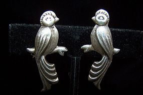 Vintage Mexican Silver Love Birds Earrings