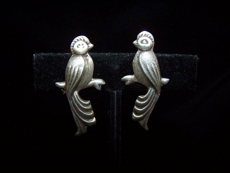 Vintage Mexican Silver Love Birds Earrings