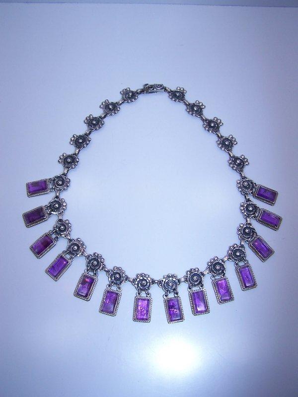 Matl Salas Vintage Mexican Silver Amethyst Necklace