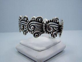 Los Castillo Glyph Vintage Mexican Silver Bracelet
