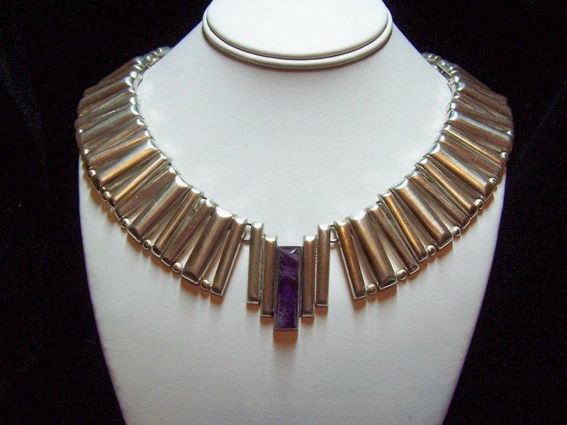 Fred Davis Vintage Mexican Silver Modernist Necklace