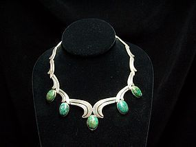 Los Ballesteros Mexican Silver Green and Blue Necklace