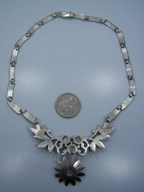 Moon Stone Vintage Mexican Silver Necklace