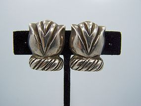 William Spratling Vintage Mexican Silver Tulip Earrings