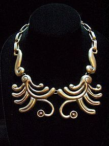 Fantastic Repousse Vintage Mexican Silver Necklace