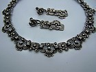 Los Castillo Glyph Vintage  Mexican Silver Necklace Set