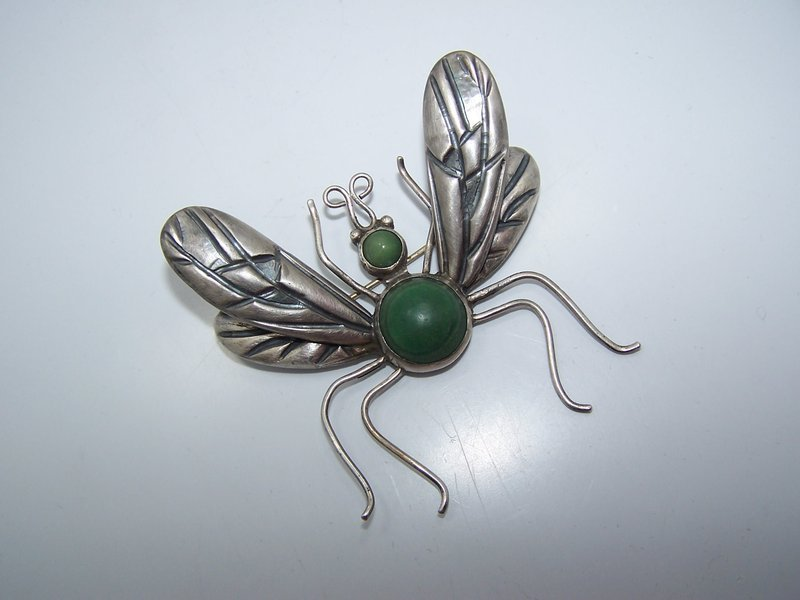 Los Castillo Vintage Mexican Silver Fly Book Piece Pin